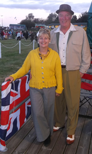 Island Knitwear - Nicola  in her 'Vintage Fitted Cardigan' with Gavin, shown wearing their Civvies